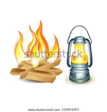 wood camp fire and oil lamp isolated on white - stock vector