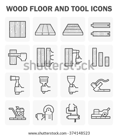 Wood floor and tool vector icon sets design. - stock vector