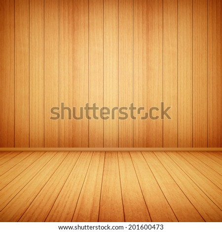 wood floor and wall background eps10 vector illustration - stock vector