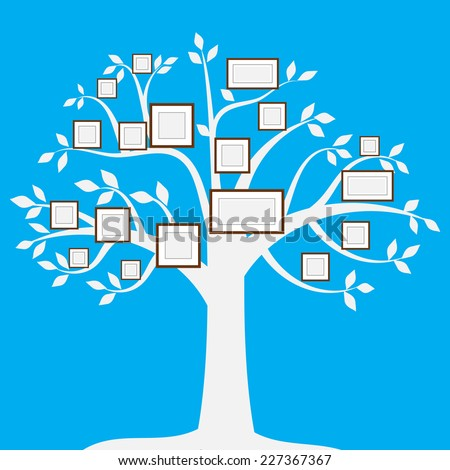 wood frame of picture set on tree blue background vector - stock vector