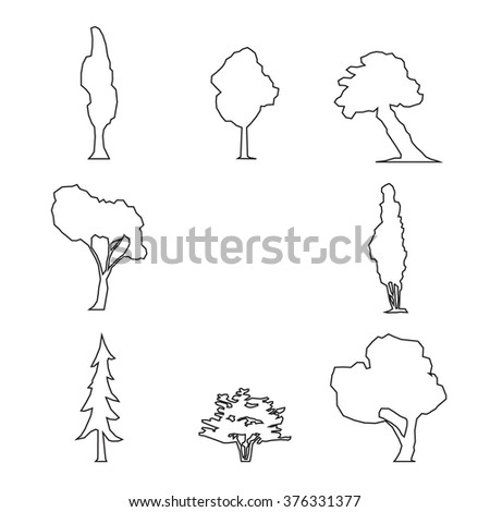 Wood icons set outline. Trees icons set, outdoor design collection. Isolated tree, trunk, foliage   - stock vector