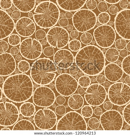 Wood logs cuts seamless pattern background - stock vector