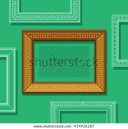 Wood picture frame flat vector. Stylish gold photo frame on green wall. Painting frame set. Template. - stock vector