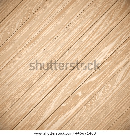 Wood plank brown background. Planks laid on the diagonal. Beige wood background. Wood background for text. Wood parquet texture. Vector illustration EPS 10. - stock vector
