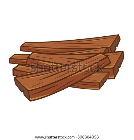 Wooden Plank Cartoon : wood planks isolated illustration on white background - stock vector
