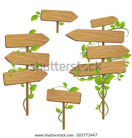 Wood signs - stock vector