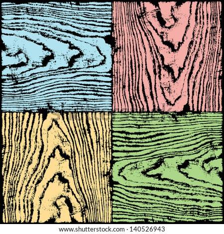 Wood texture background seamless pattern. Empty plank with annual years circles. Backdrop size square format. Blue, red, yellow, green color swatch template. Vector illustration design elements 8 eps - stock vector