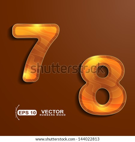 wood texture numbers 7 8 - stock vector