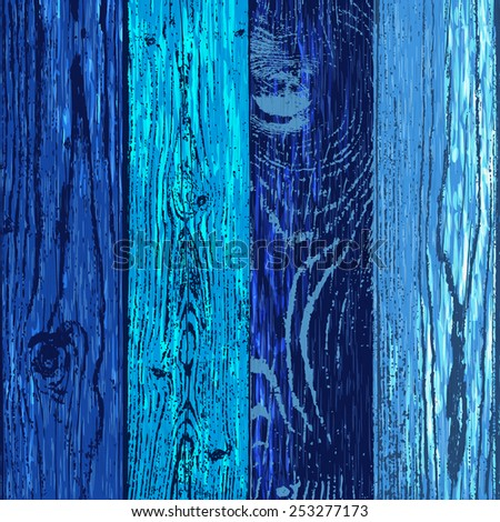 Wood texture template in blue colors. Vector illustration. Natural wooden background. - stock vector