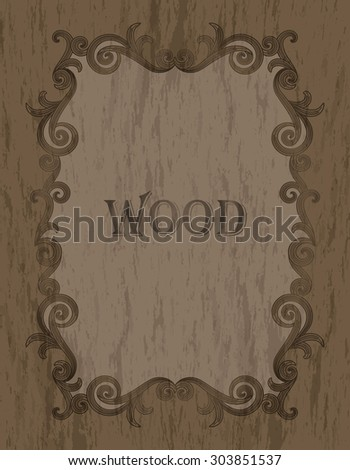 wood texture - vintage dark brown color vignette border on a light brown wood background - stock vector