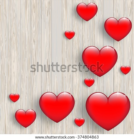 Wood valentine's background with 3d hearts.  - stock vector