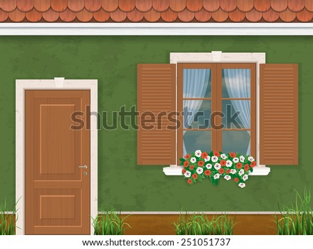 wood window and door on the background of the vintage old wall of the house - stock vector