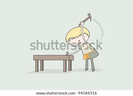Wood Worker - stock vector