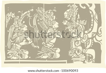Woodblock style Mayan image with two priests and Vision Serpent - stock vector