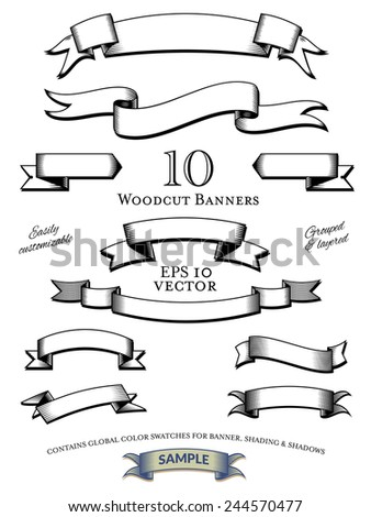 Woodcut Banners Vector Set. Collection of woodcut engraved banners vector illustration, easily customizable with global color swatches. Objects grouped and layered. - stock vector