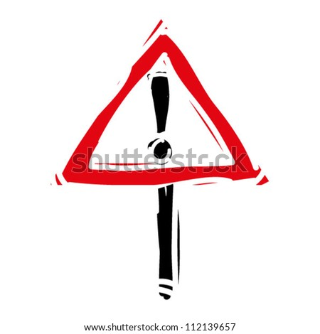 "woodcut engrave illustration of road sign ""attention"" - stock vector"