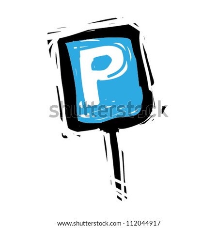 Woodcut engrave illustration of road sign parking - stock vector