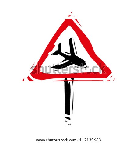 "woodcut engrave illustration of road sign ""plane"" - stock vector"