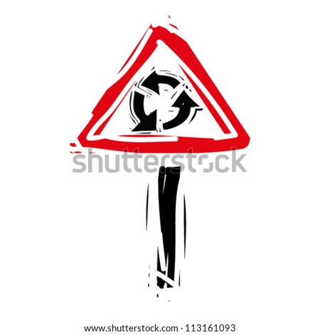 "woodcut engrave illustration of road sign ""roundabout"" - stock vector"