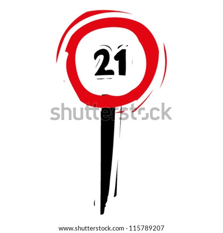 "woodcut engrave illustration of road sign ""speed limit 21"" - stock vector"