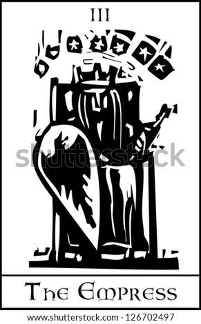 Woodcut expressionist style image of the Tarot Card for the Empress - stock vector