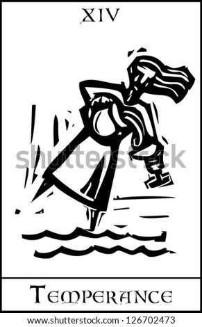 Woodcut expressionist style Tarot card for the image of Temperance - stock vector