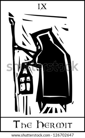 Woodcut expressionist style Tarot card image of the Hermit - stock vector