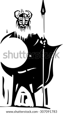 Woodcut expressionist viking holding a spear and shield - stock vector