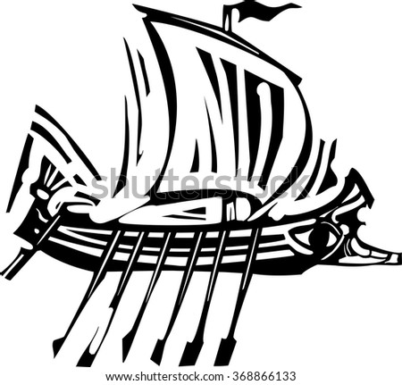 Woodcut style ancient Greek Galley with oars and sail. - stock vector