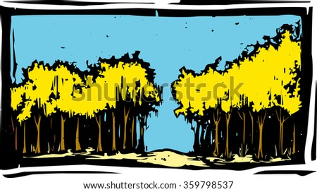 Woodcut style autumnal trees with yellow fall leaves - stock vector