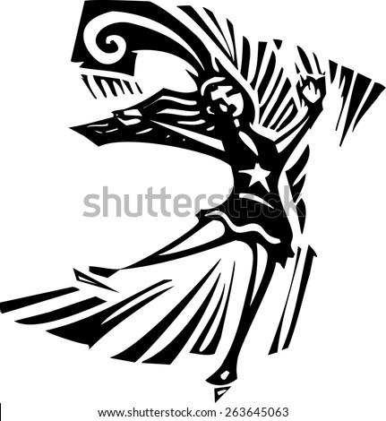 Woodcut style expressionist image of a Figure Skater - stock vector