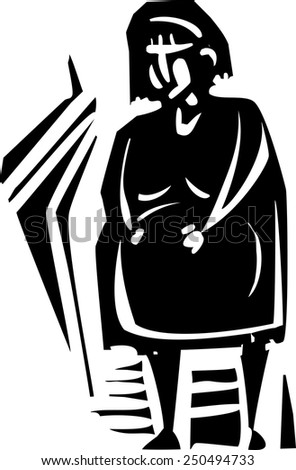 Woodcut style expressionist image of a pregnant woman - stock vector