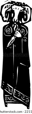 Woodcut style expressionist image of a satanic priest in ram's head mask. - stock vector