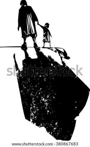 Woodcut style expressionist image of an elderly woman walking in hand with a child. - stock vector