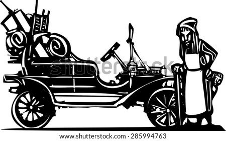 Woodcut style expressionist image of an old woman leaving home during the great depression in a vintage car - stock vector