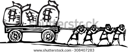 Woodcut style expressionist image of people dragging bags of money on a wagon. - stock vector