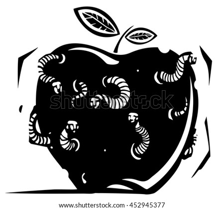Woodcut style expressionistic image of a rotten apple riddled with worms with the faces of men - stock vector