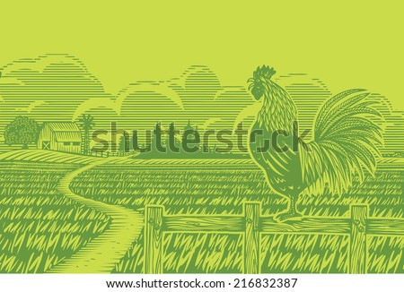 Woodcut style, Farm scene with a rooster crowing - stock vector