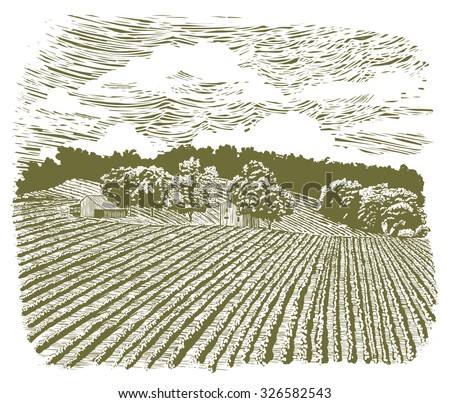 Woodcut-style illustration of a barn scene. - stock vector