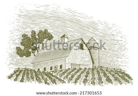 Woodcut-style illustration of a barn scene with a silo. - stock vector