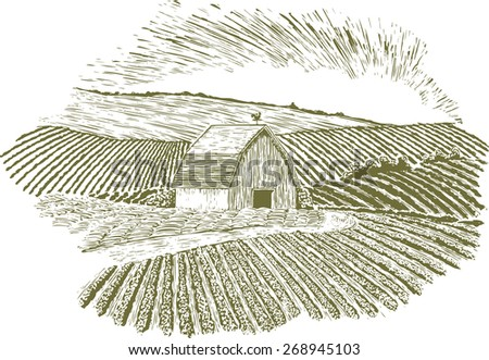 Woodcut-style illustration of a barn with rolling farm hills in the background and foreground. A dirt road leads to the barn past a hay field. - stock vector
