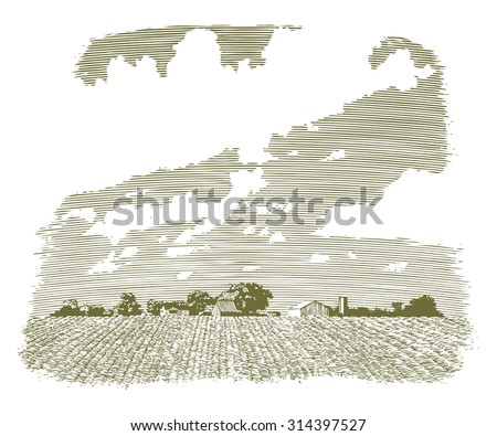 Woodcut-style illustration of a Kansas farm and field. - stock vector