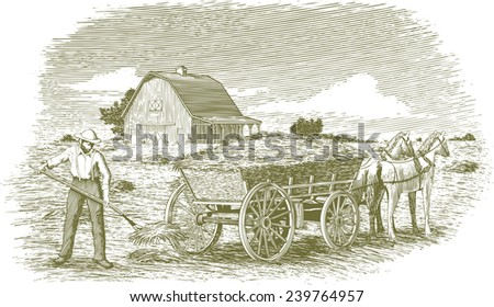 Woodcut-style illustration of a man loading hay on to a horse-drawn cart with a barn in the background. - stock vector