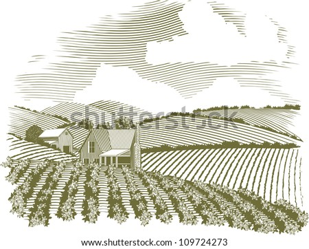 Woodcut style illustration of a rural farm house with fields of crops surrounding it. - stock vector