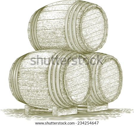 Woodcut-style illustration of a stack of wooden barrels. - stock vector