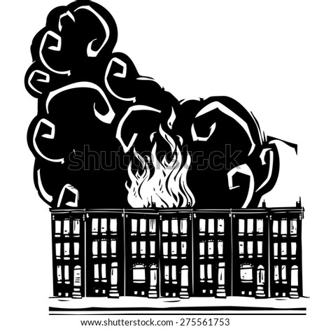 Woodcut style image of a burning Baltimore Row home. - stock vector