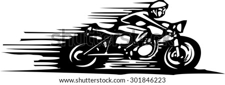Woodcut style image of a cafe racer style motorcycle. - stock vector