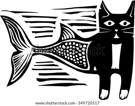 Woodcut style image of a catfish mermaid - stock vector