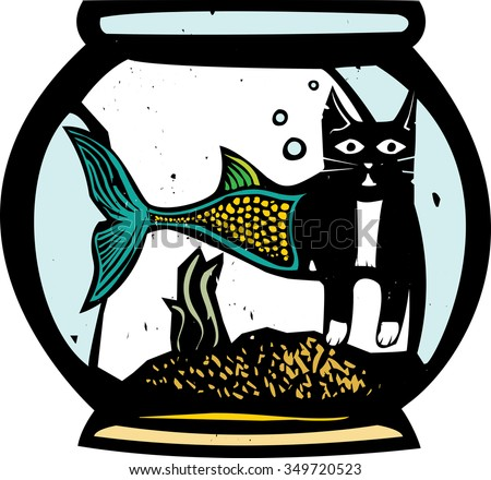 Woodcut style image of a catfish mermaid in a fish bowl - stock vector