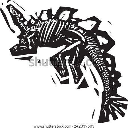 Woodcut style image of a fossil of a armored Stegosaurus with spikes - stock vector